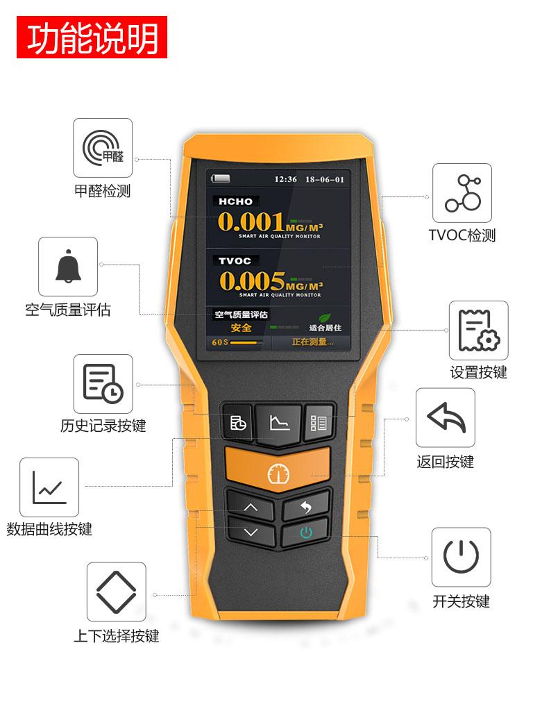 BLATN甲醛检测仪家用 测甲醛tvoc测试苯专业室内空气质量盒器